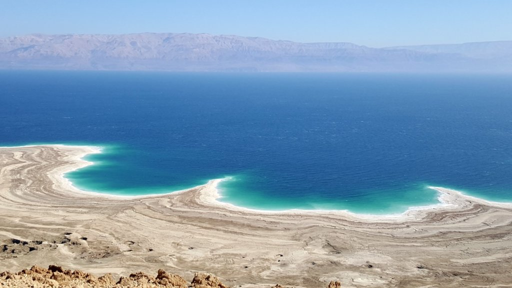 View over the Dead Sea to Jordan