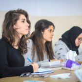 Girls attending German language class at Birzeit University