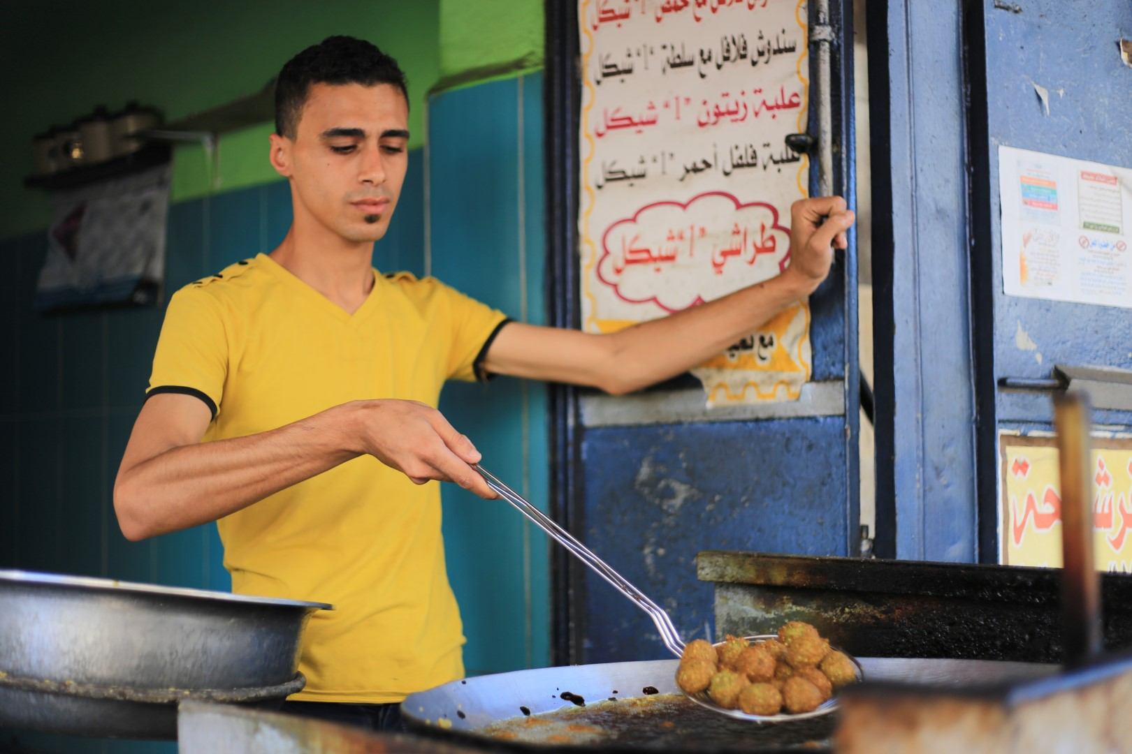 Man is frying Falafel in Gaza